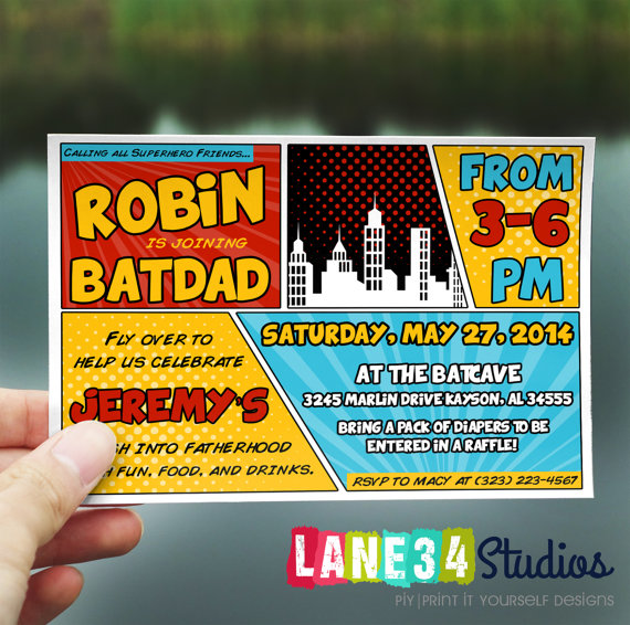 baby shower invitation robin joins batman superhero baby shower baby