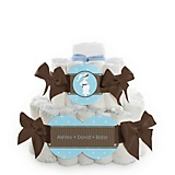 Boy-Mommy-Silhouette-Baby-Shower-2-Tier-Diaper-Cake