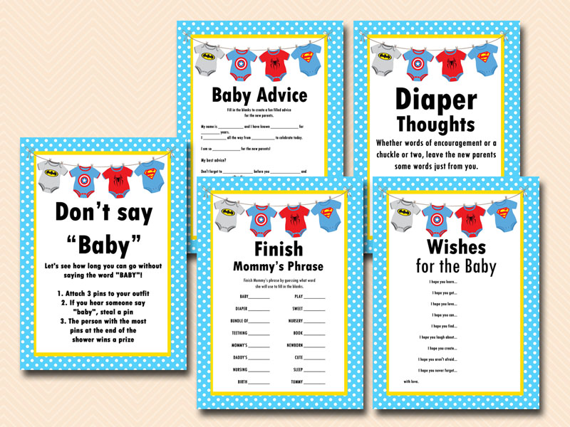 Superhero Baby Shower Games  Printable Instant Download Batman Captain America Spiderman Baby Shower  Games TLC62