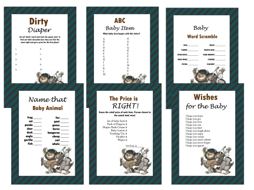 Where The Wild Things Are Baby Shower Games Set