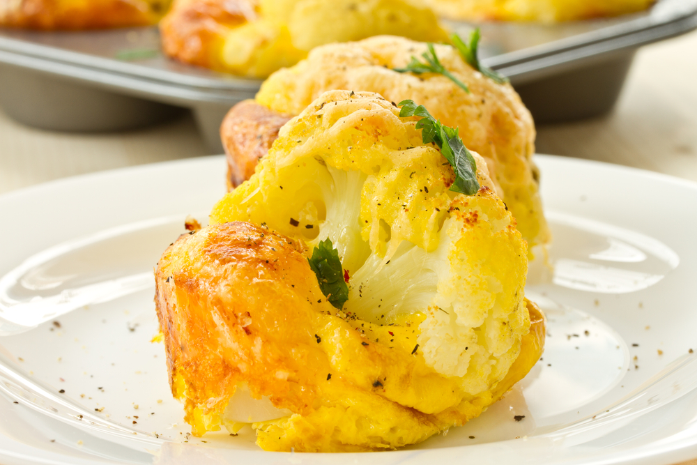 cauliflower baked in an egg and cheese