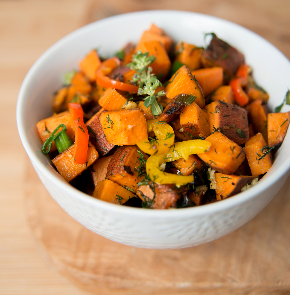 Sweet Potato with Herbs, Peppers and Onions