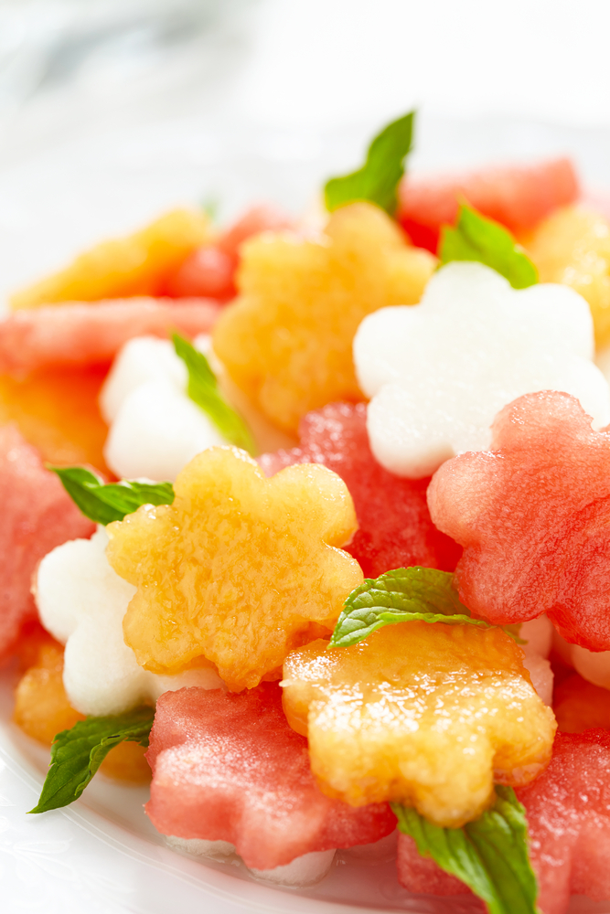 simple and super easy baby shower food ideas, dessert inspirations - Fruit salad with melon and watermelon