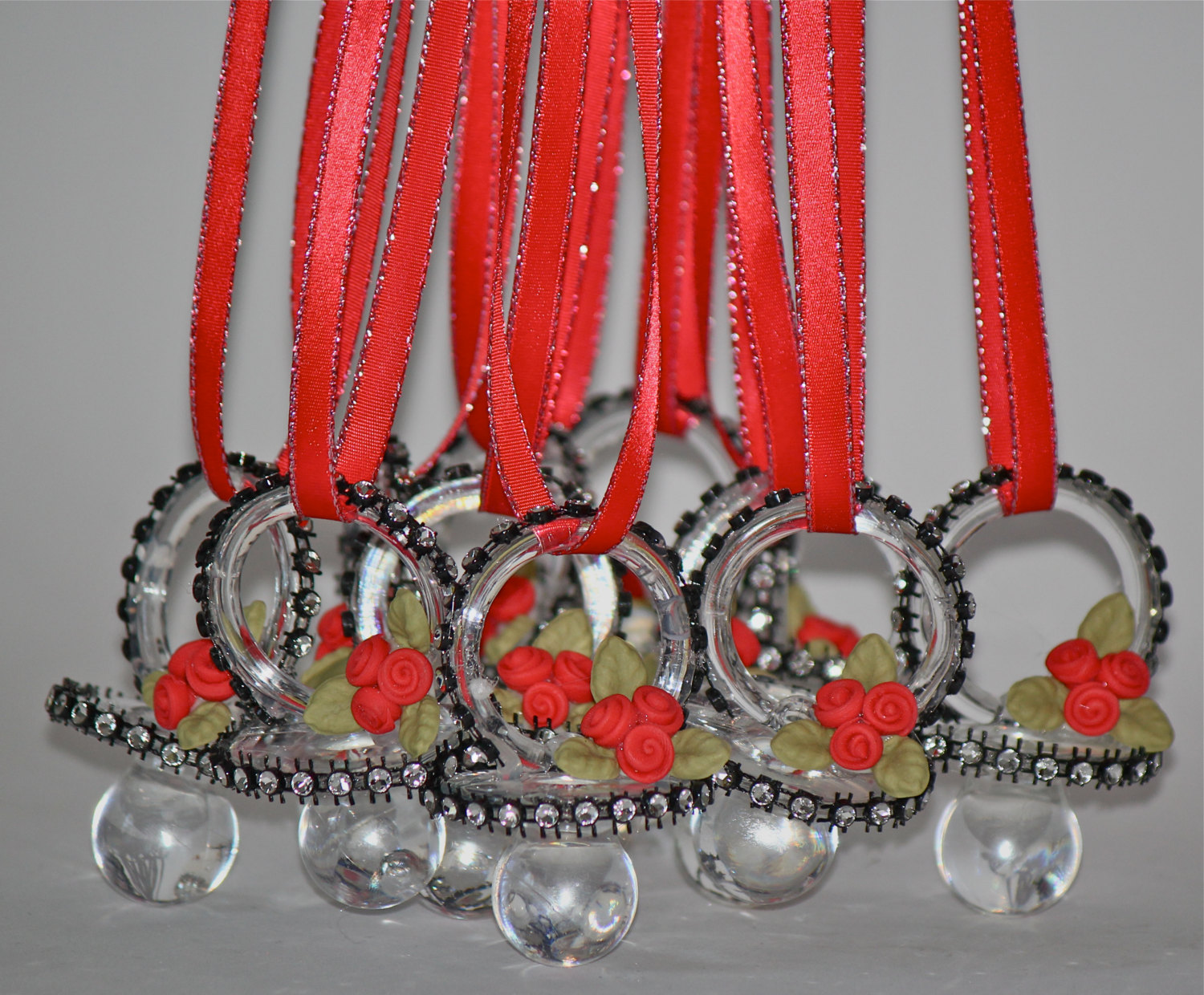 Lady Bug Red And Black Baby Shower Pacifier Necklace Baby Shower