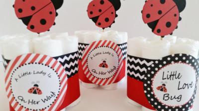 Ladybug Baby Shower Center Pieces, Mini Ladybug Diaper Cakes, Ladybug  Diaper Cake, Ladybug