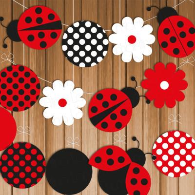 ladybug printable party banner u0026 hanging decorations instant download polka dots diy