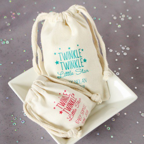 Natural Cotton Baby Shower Favor Bag Twinkle Twinkle