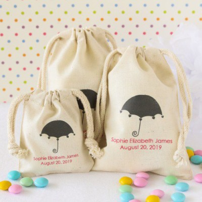 Natural Cotton Baby Shower Favor Bag umbrella