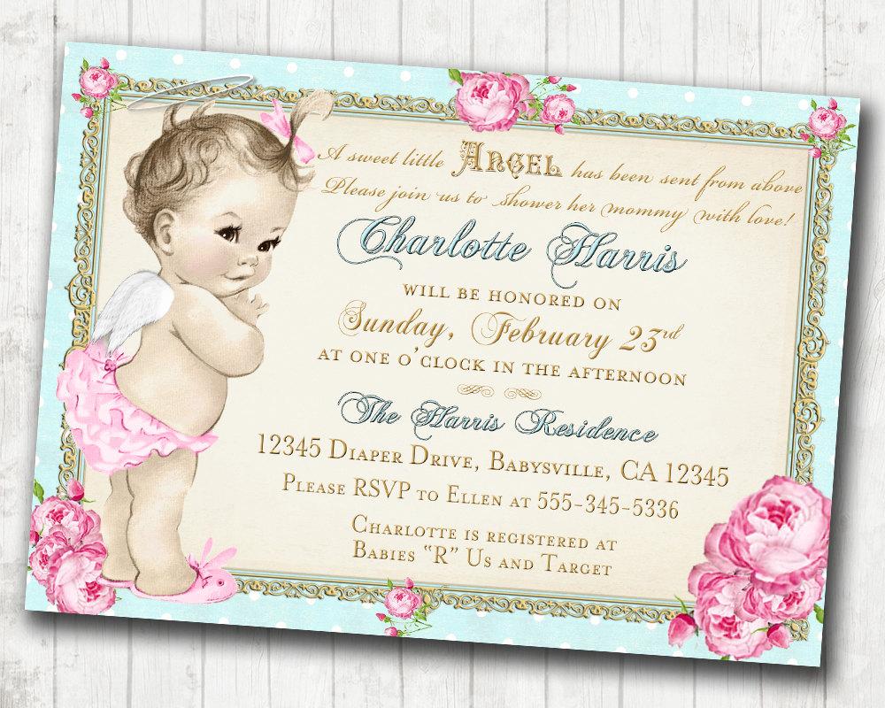Baby Shower Invitation - Angel - Shabby Chic - Roses - Angel Baby ...