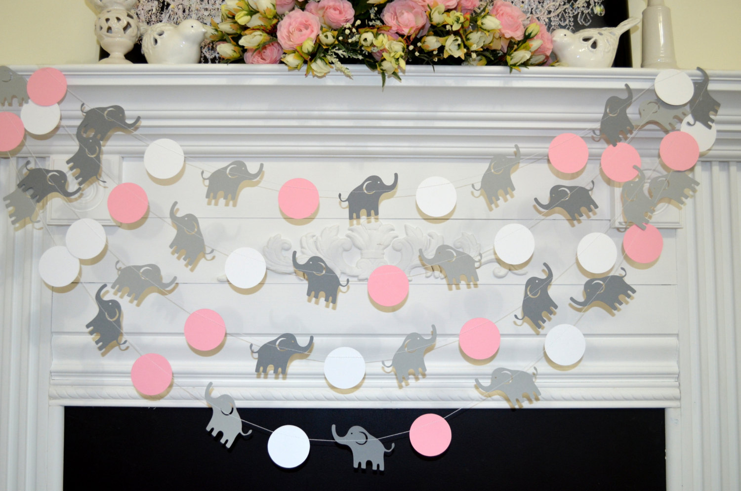 Elephant garland elephant baby shower decor baby shower for Baby shower decoration free