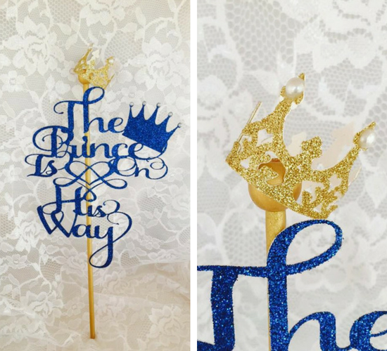 Delightful Gold Little Prince Baby Shower Cake Toppers