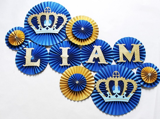 Paper Rosettes Royal Prince Baby Shower Decorations