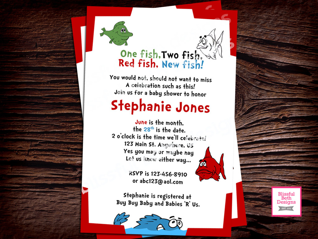 baby shower invitation one fish two fish baby shower invitation dr