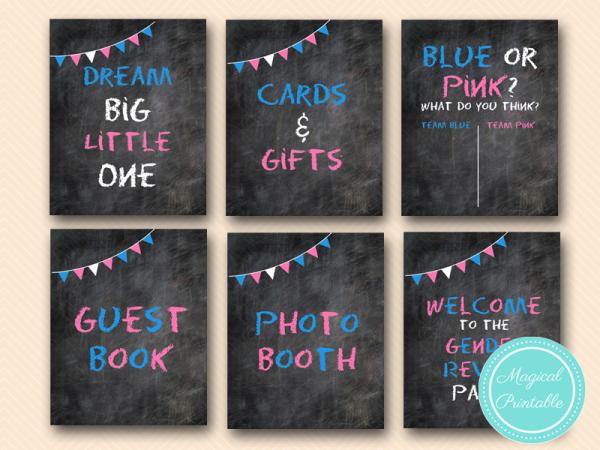 Chalkboard Gender Reveal Party Signs Girl Or Boy Signs Gender Reveal