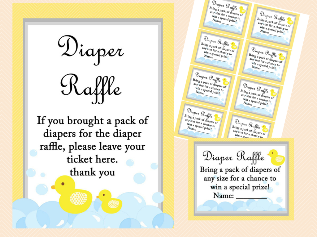 diaper raffle, Yellow Rubber Duck Baby Shower Game Pack ...