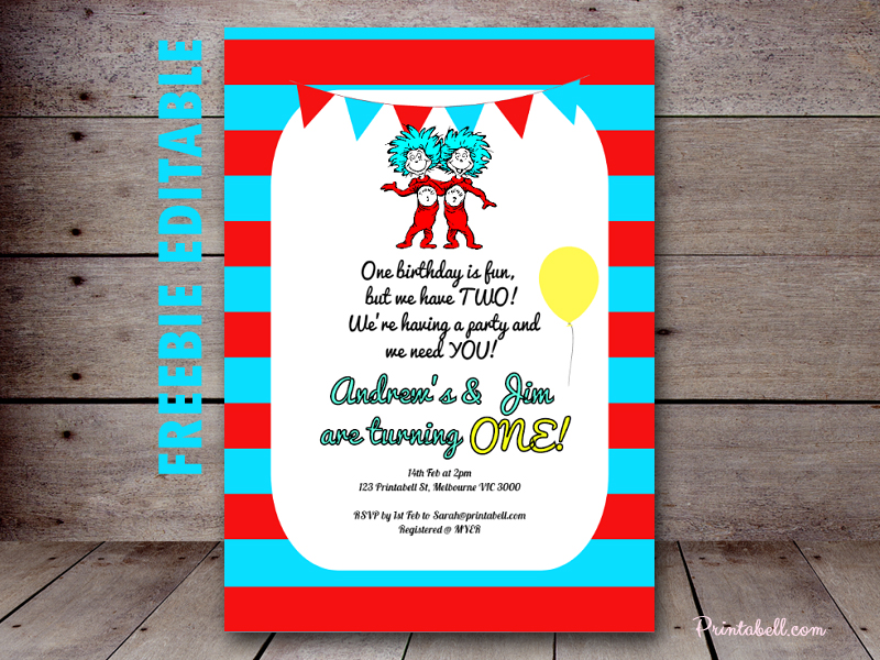 free-editable-dr-seuss-thing-1-thing-2-invitation-twins - Baby ...