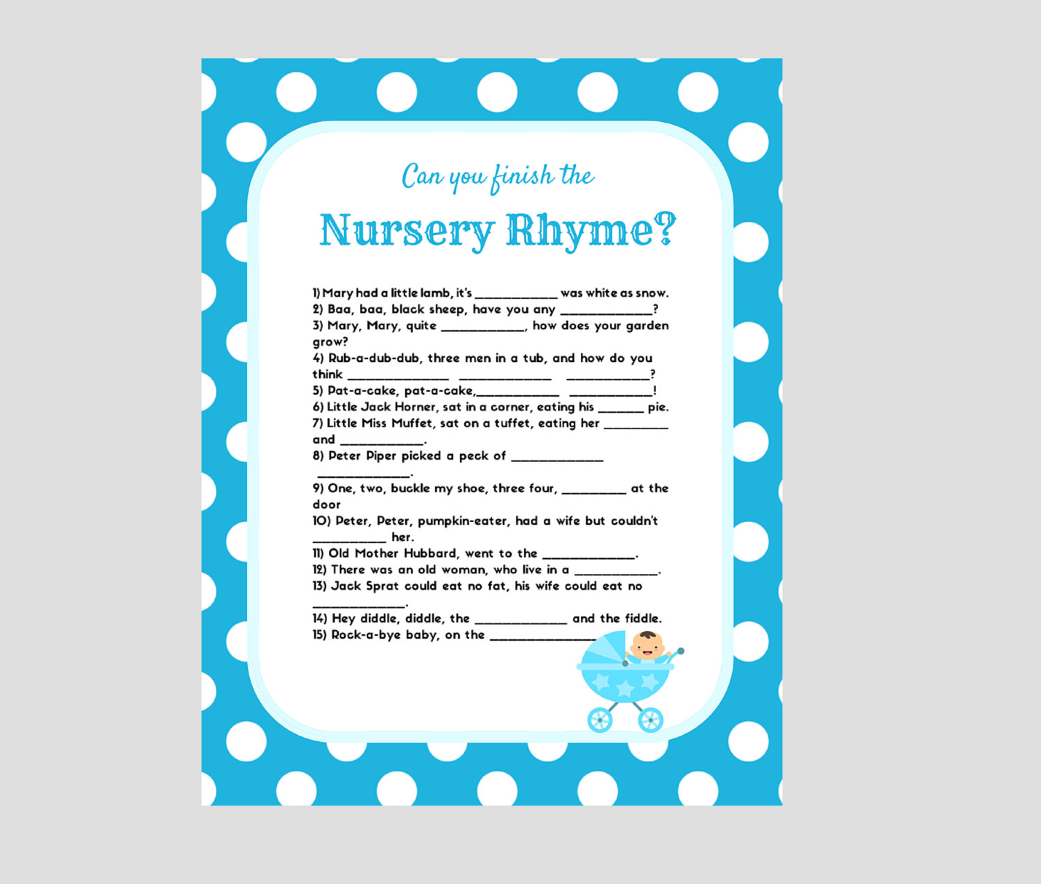 nursery rhyme baby shower game baby shower ideas themes games