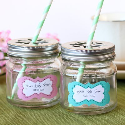 personalized-baby-shower-mason-jars-with-flower-lids-and-straws-400