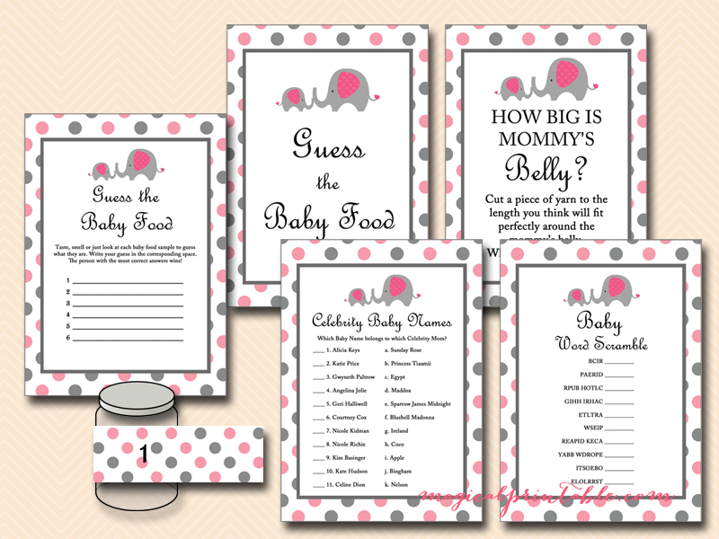 Pink And Gray Elephant Baby Shower Game Pack Tlc88 Instant