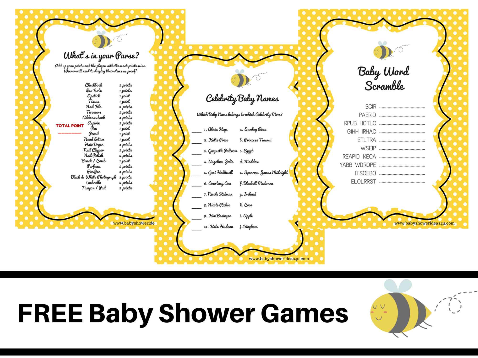 What Will It Bee Theme Baby Shower FREE PRINTABLE BABY SHOWER GAMES Word Scramble Celebrity Whats In Your Purse