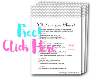 whats-in-your-phone, free baby shower games