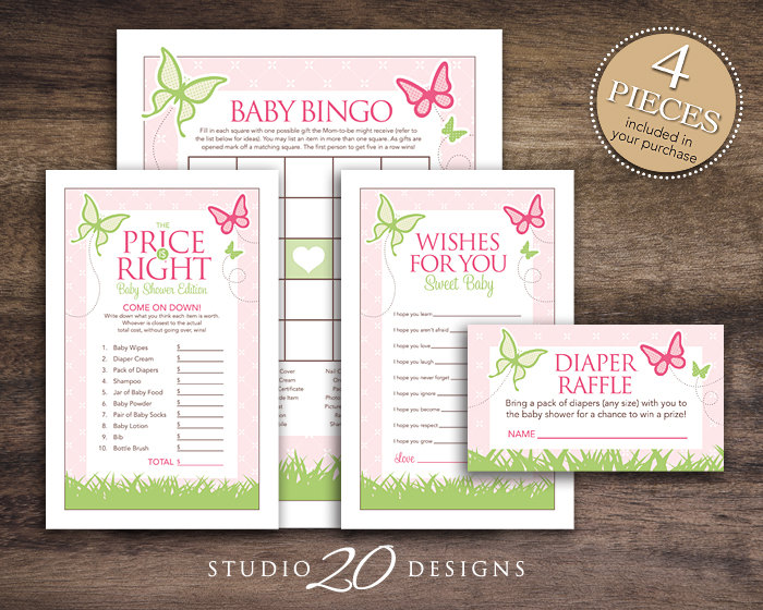 Butterfly Baby Shower Games Printable Bingo Cards Price Is Right