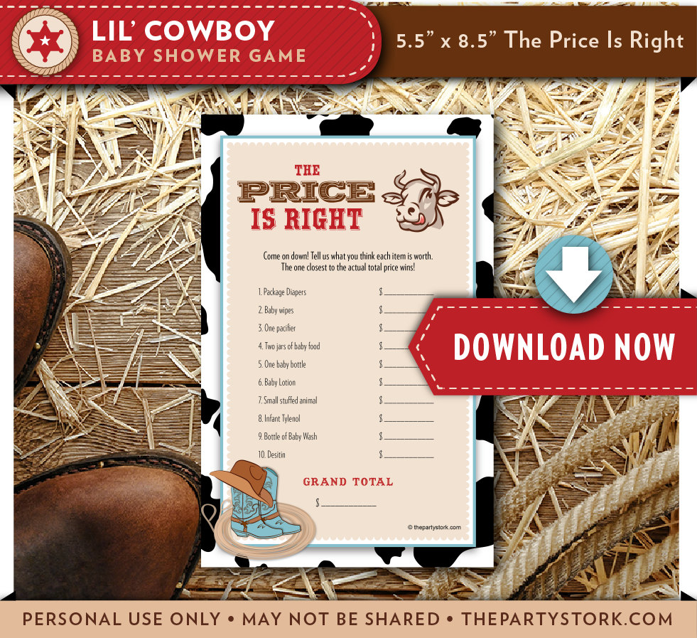 Baby Shower Cowboy Theme: Cowboy Baby Shower Game Price Is Right Western Baby Boy