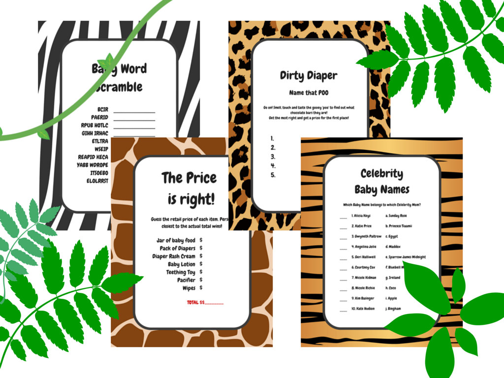 Jungle Baby Shower Games, Safari Baby Shower Games