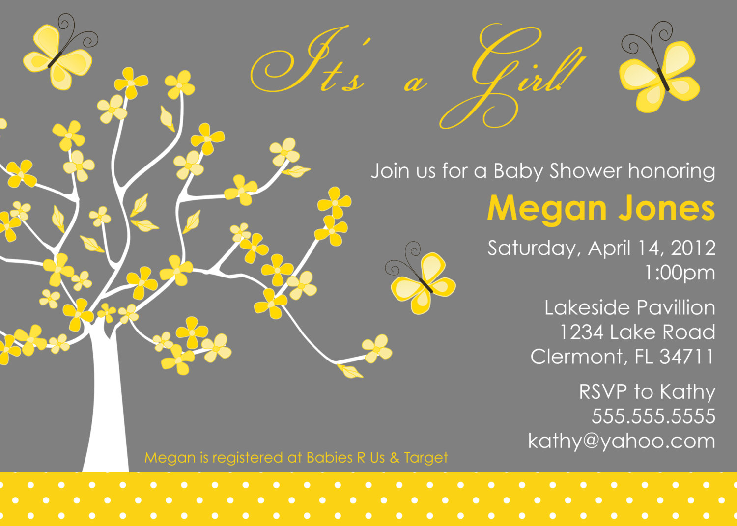 Yellow & Gray Tree and Butterfly Baby Shower Invitation - Baby ...