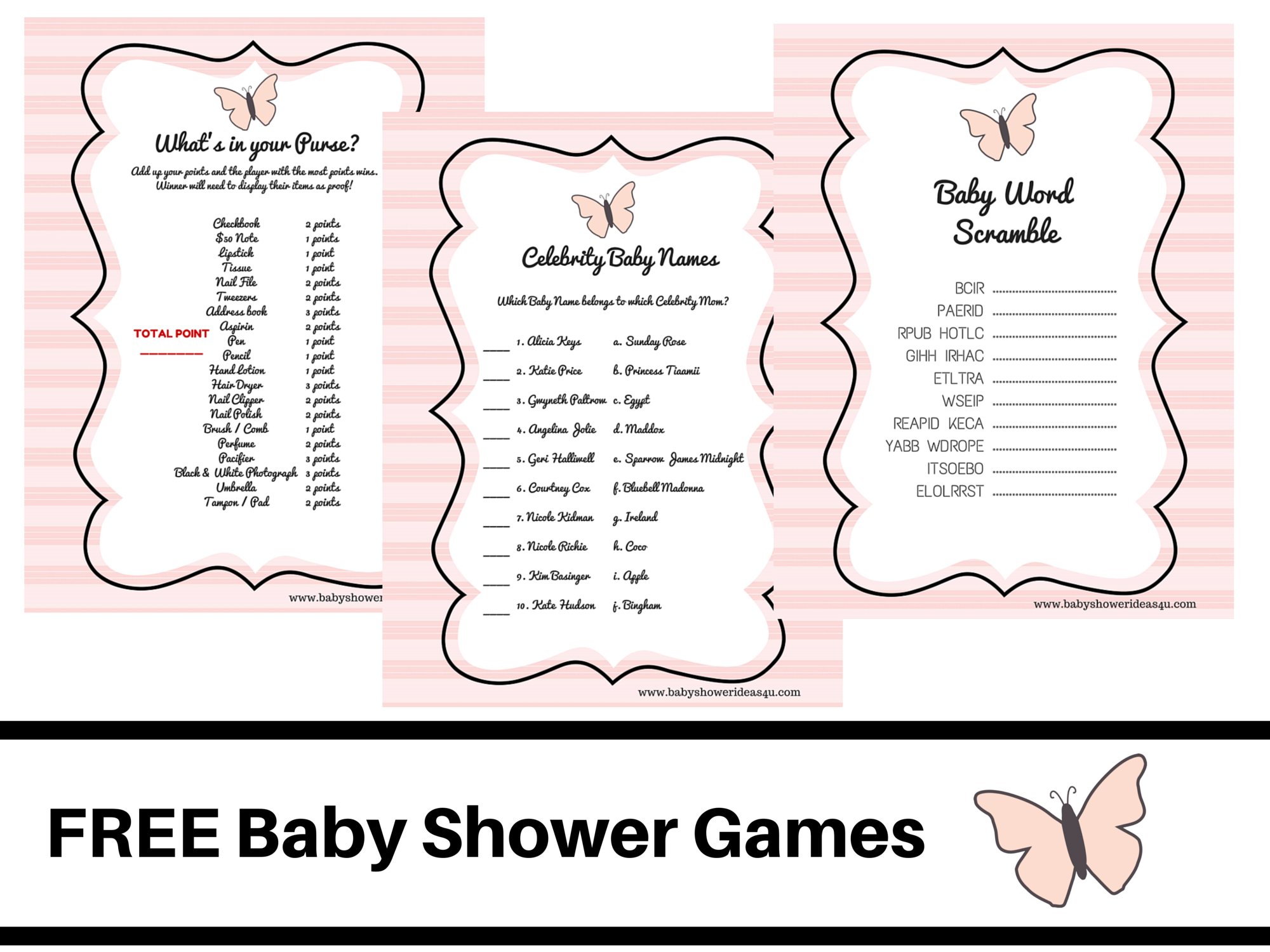 butterfly theme baby shower FREE PRINTABLE BABY SHOWER GAMES baby