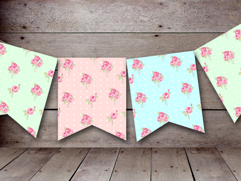 Free Printable Bunting & Garland & Banner Decorations - Baby Shower ...