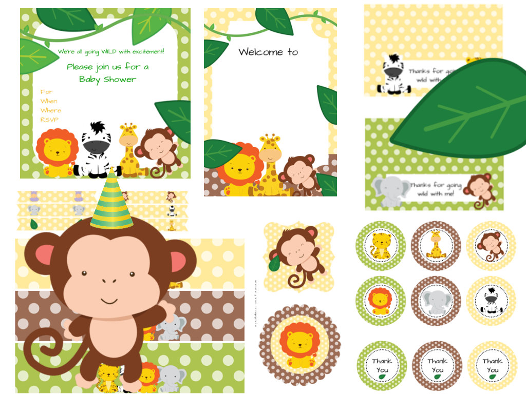 Safari jungle themed baby shower baby shower ideas for Baby shower party junge