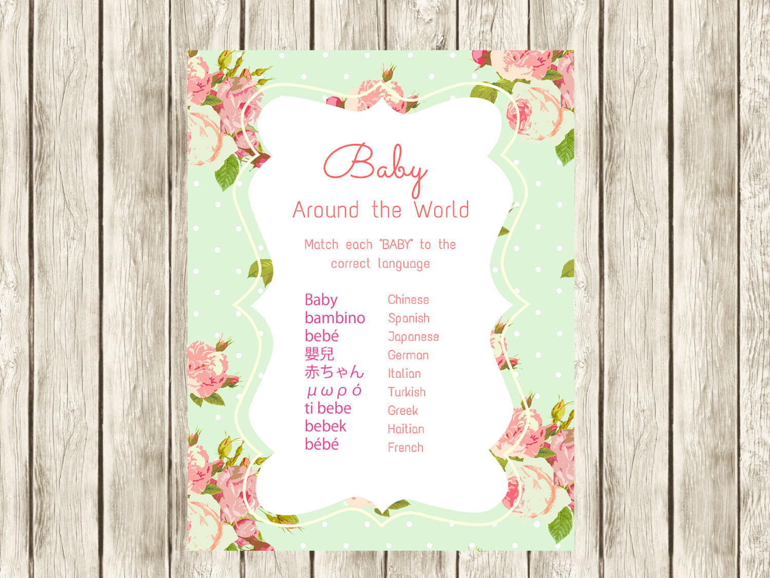 mint shabby chic baby shower game  baby around the world