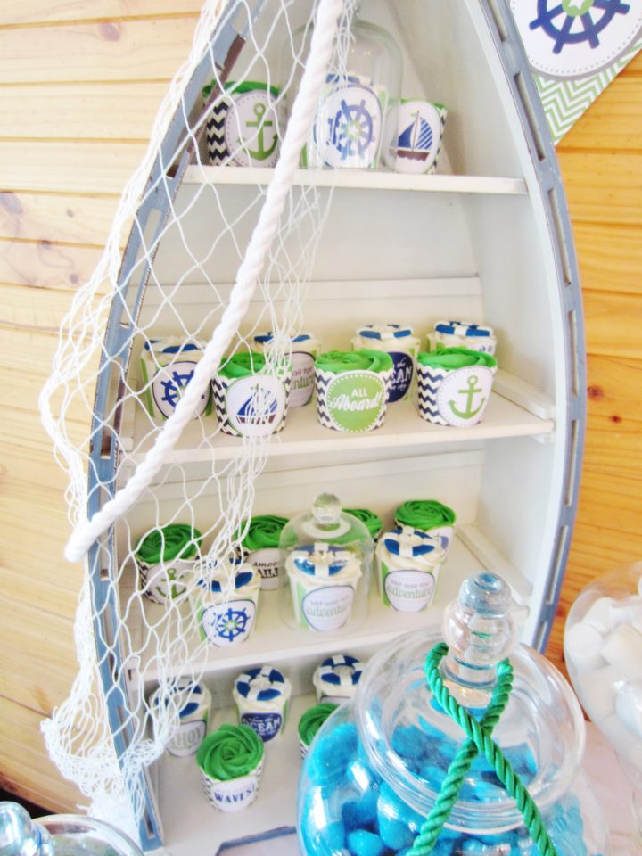 green blue chevron nautical party baby shower ideas. Black Bedroom Furniture Sets. Home Design Ideas