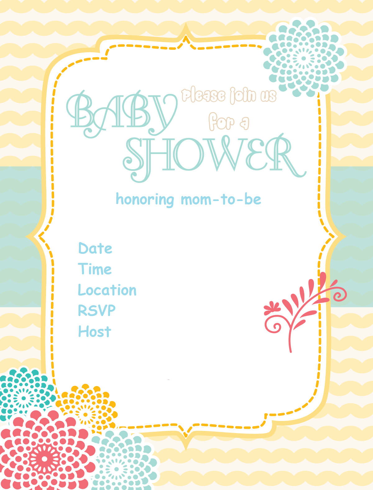 free baby shower invitation sunshine flower