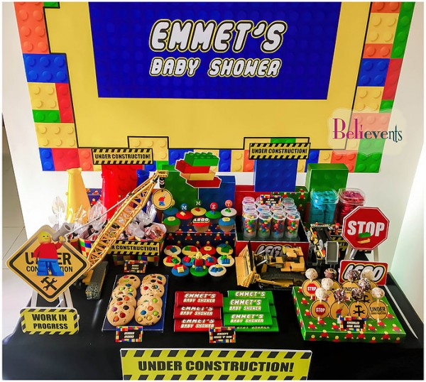 Lego Construction Baby Shower Decorations Baby Shower Ideas