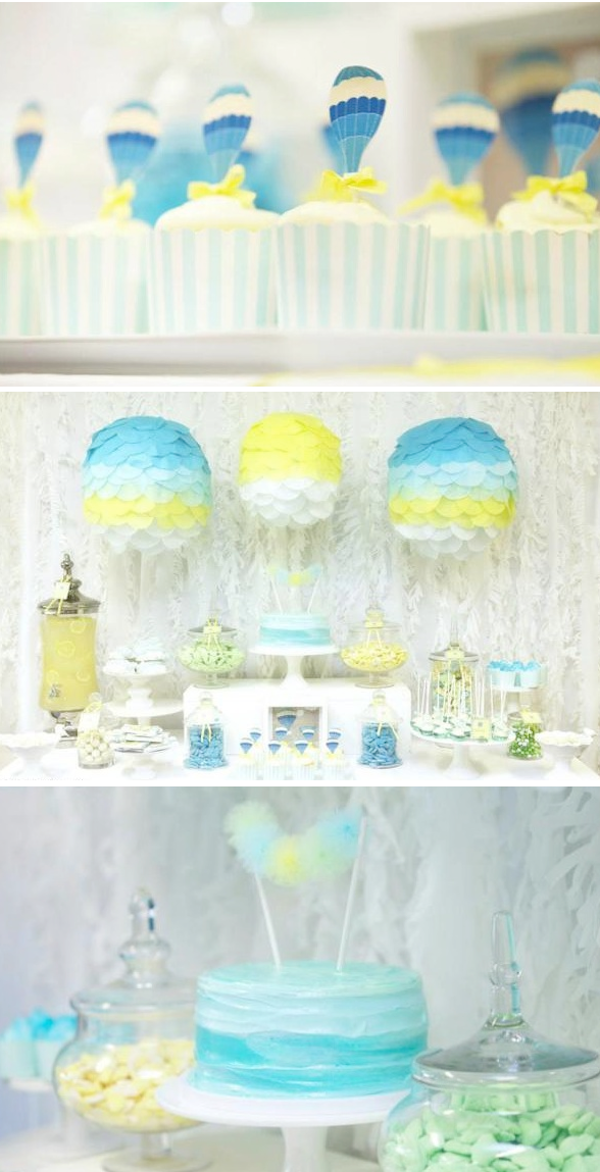 Hot air balloon baby shower theme baby shower ideas themes for Balloon decoration for baby shower