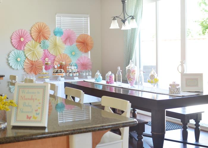 pics photos pastel butterfly garden theme baby shower with rosette