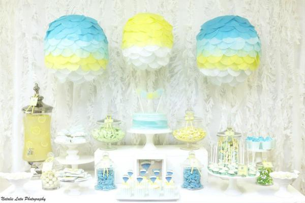 Hot air balloon baby shower theme baby shower ideas themes games - Baby shower boy decorations ...