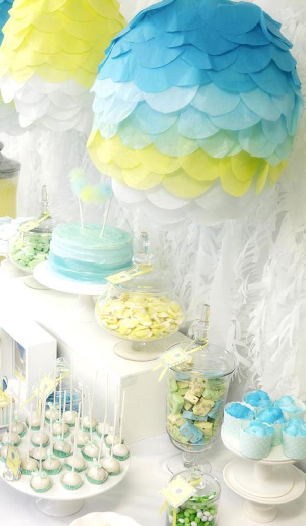 Hot air balloon baby shower theme ideas