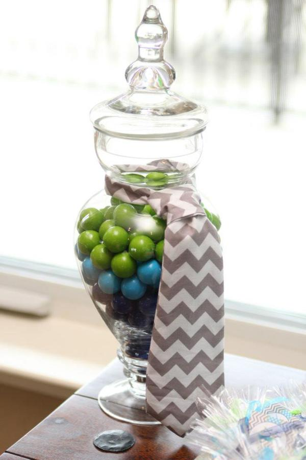 Apothecary Jars Filled With Green And Blue Gumballs With Chevron Pattern  Necktie Necktie Cupcake Toppers Baby ...