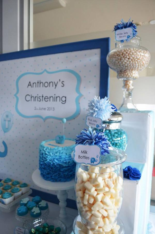 Blue elephant baby shower baby shower ideas and shops - Decorations for a baptism ...