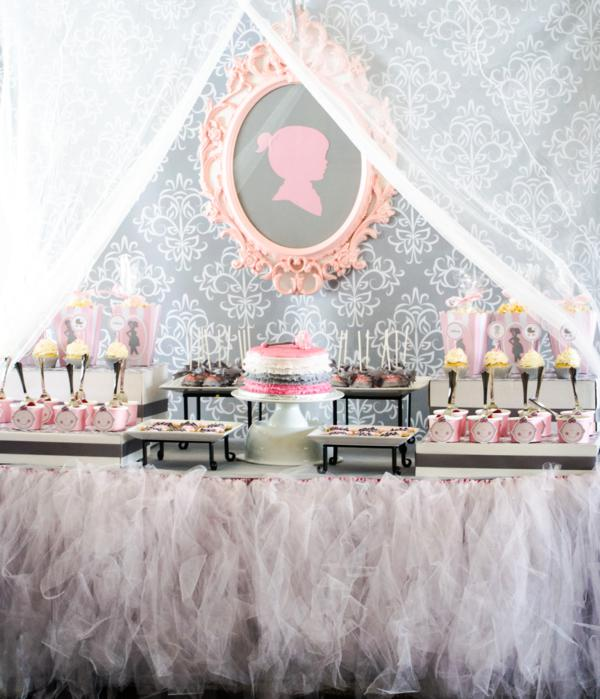 tutu silhouette baby shower theme decoration ideas for baby girl