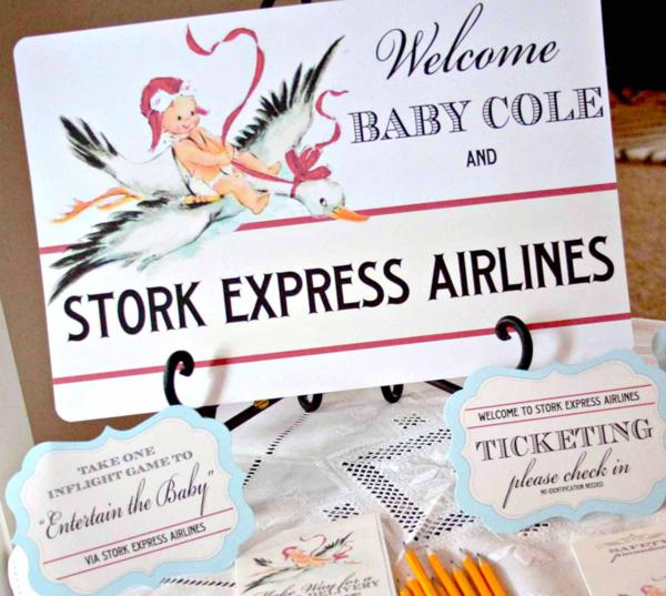 Stork Express Airline Baby Shower Theme