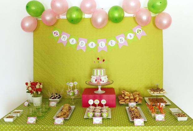 Pink And Green Owl Baby Shower Food Table Baby Shower Ideas