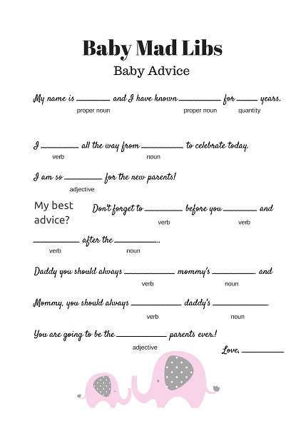 free baby mad libs game - baby advice