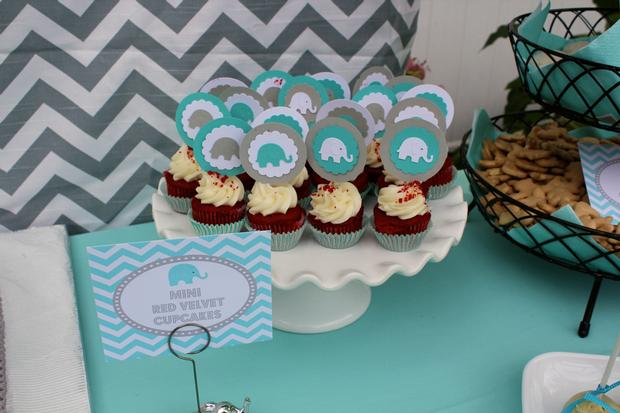 Modern chevron elephant baby shower baby shower ideas themes games - Baby shower chevron decorations ...
