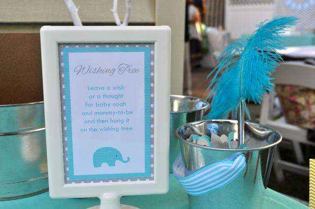 Modern Chevron Elephant Baby Shower Wishing Tree Baby Shower Ideas