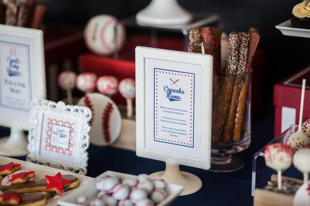 cracker baseball themed baby shower ideas framed food menu