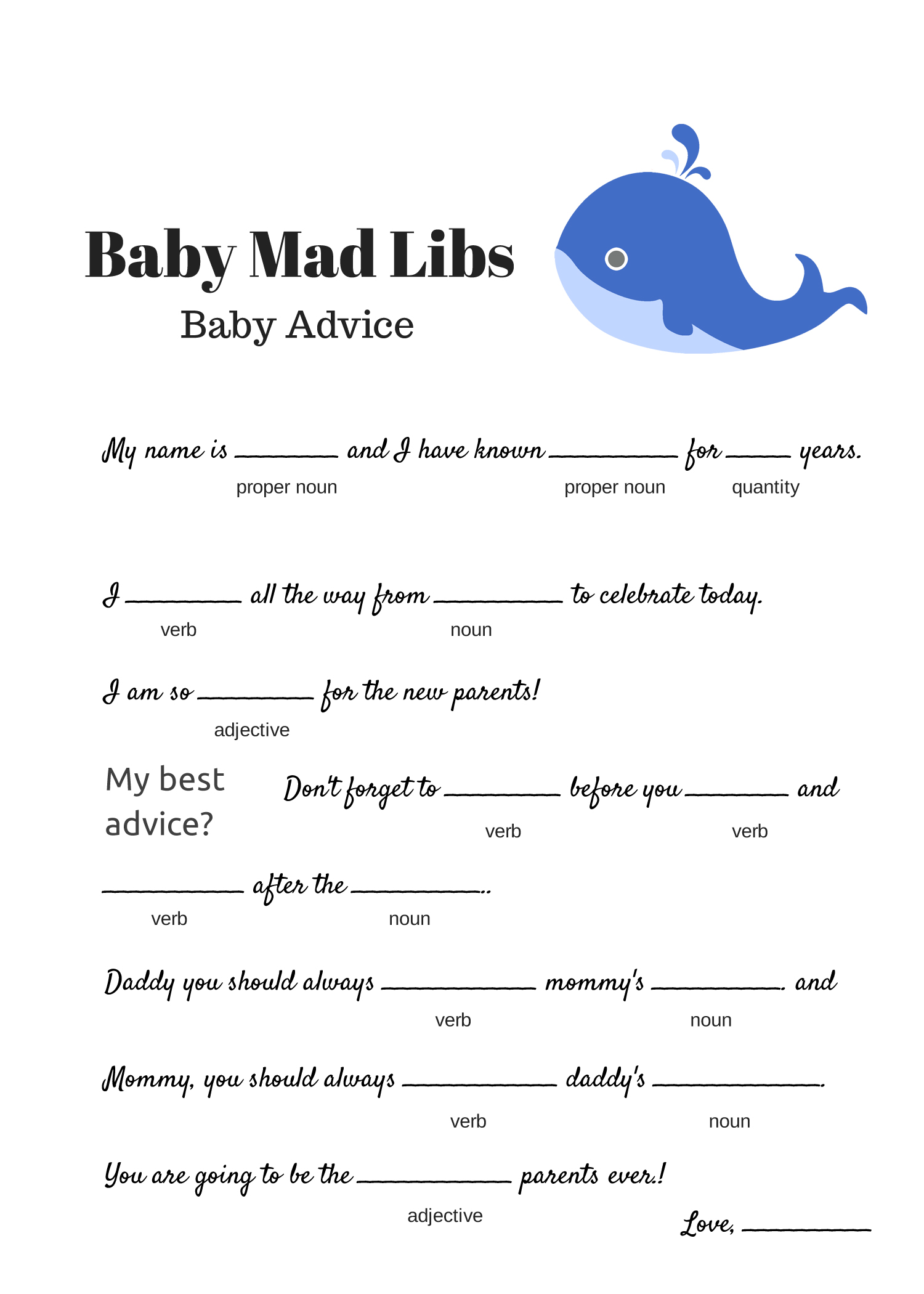 whale free baby shower mad libs game baby advice game baby shower